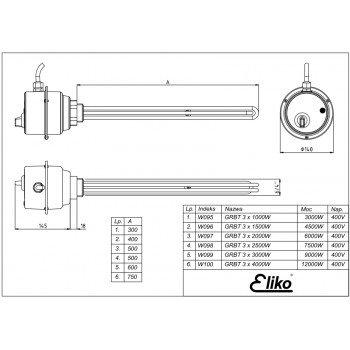 ТЭН с термостатом Eliko GRBT(W097) 3x2000W 400V 6 кВт для больших емкостей