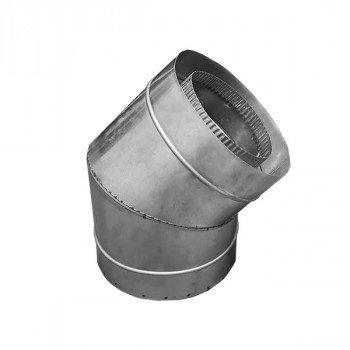 Колено дымоходное 45° из нержавейки утепленное Ø 120/180 толщина стенки  0,6 мм сталь AISI316/304