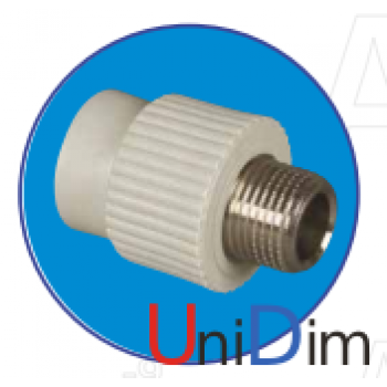 Переходник метал. резьба наружная 1/2 ASG-plast d25 мм