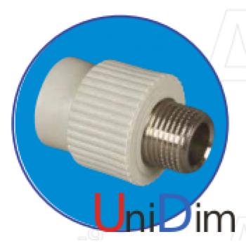 Переходник метал. резьба наружная 3/4 ASG-plast d25 мм
