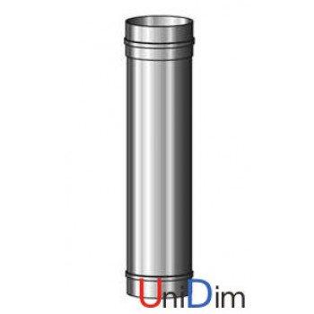 Труба дымоходная из нержавейки одностенная 0,8мм d 130мм h 1000мм