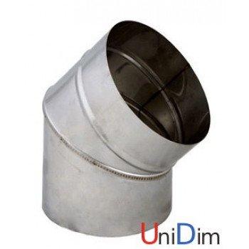 Колено дымоходное из нержавейки одностенное 110/45°  0,8мм
