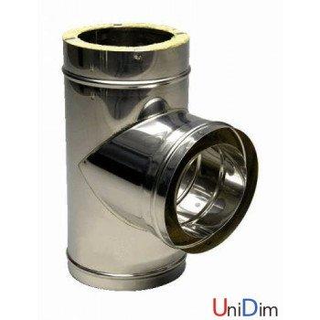 Тройник дымоходный 90 ° из нержавейки одностенный Ø 100 толщина стенки 0,8 мм сталь AISI309