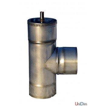 Тройник дымоходный из нержавейки одностенный с конденсатоотводом150/90° 0,8 мм