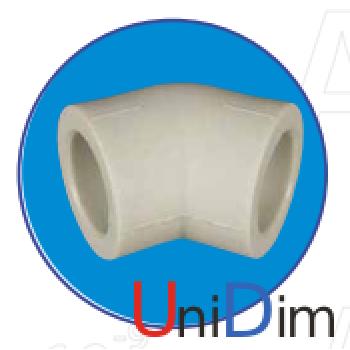 Колено полипропиленовое ASG-plast 45° d50 мм