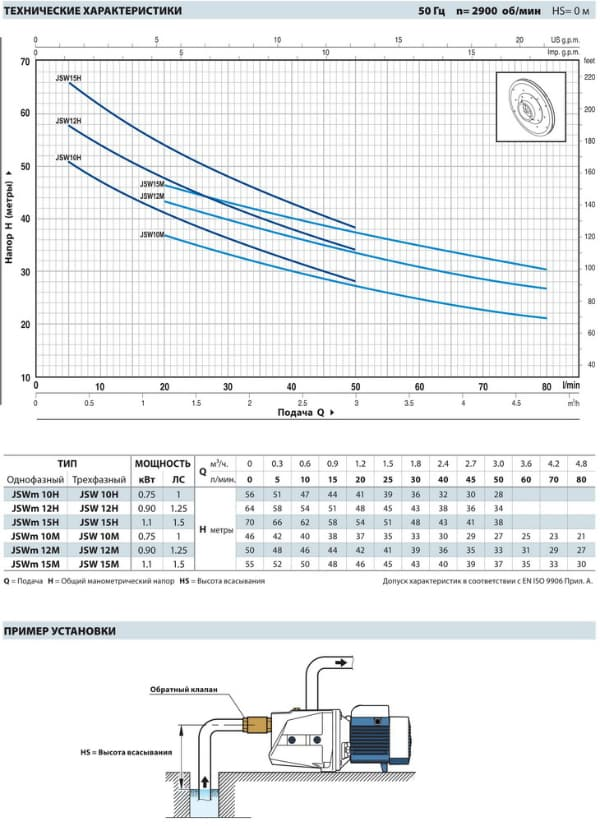 График работы: Насос поверхностный самовсасывающий Pedrollo JSWm 1A - рисунок