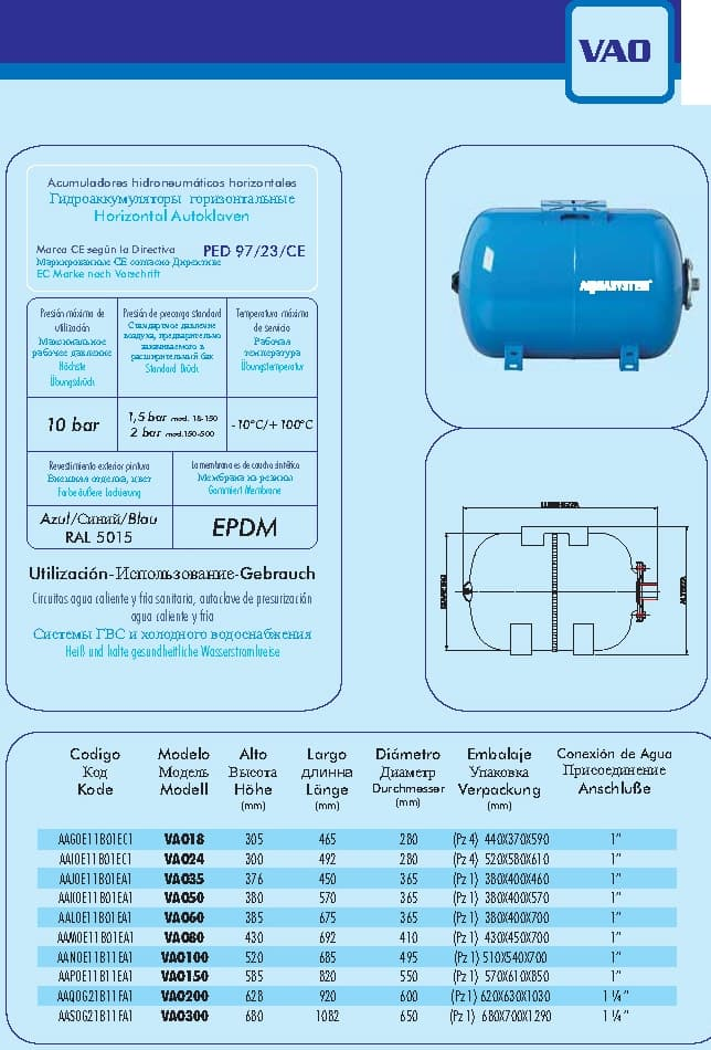 Гидроаккумулятор aquasystem vao.