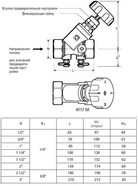 Клапан балансировочный Herz Штремакс-M - схема