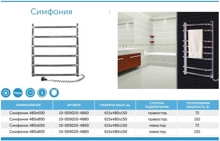 Полотенцесушители электрические для ванной нержавейка Navin Симфония.
