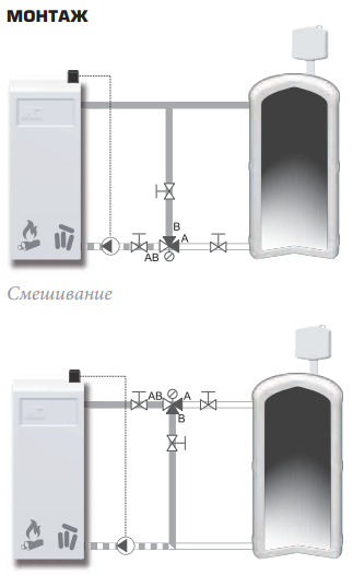 Пример установки смесительного клапана ESBE VTС 512