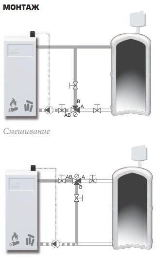 Пример установки смесительного клапана ESBE VTС 531