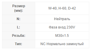 Технические характеристики сервопривода Salus T30NC