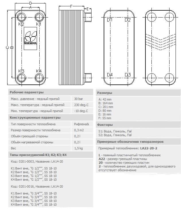 технические характеристики теплообменника secespol LA14-20-3/4 20