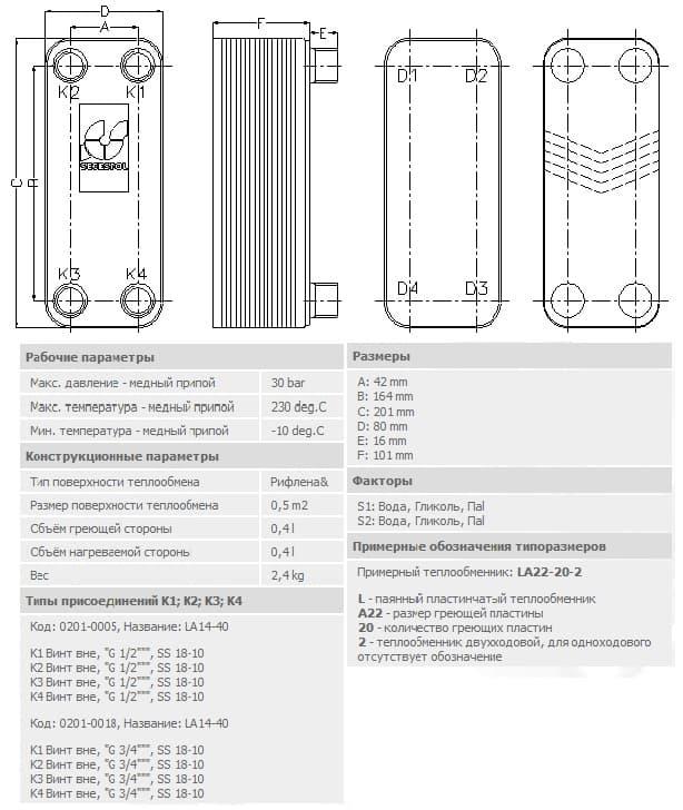 технические характеристики теплообменника secespol LA14-40-3/4 40