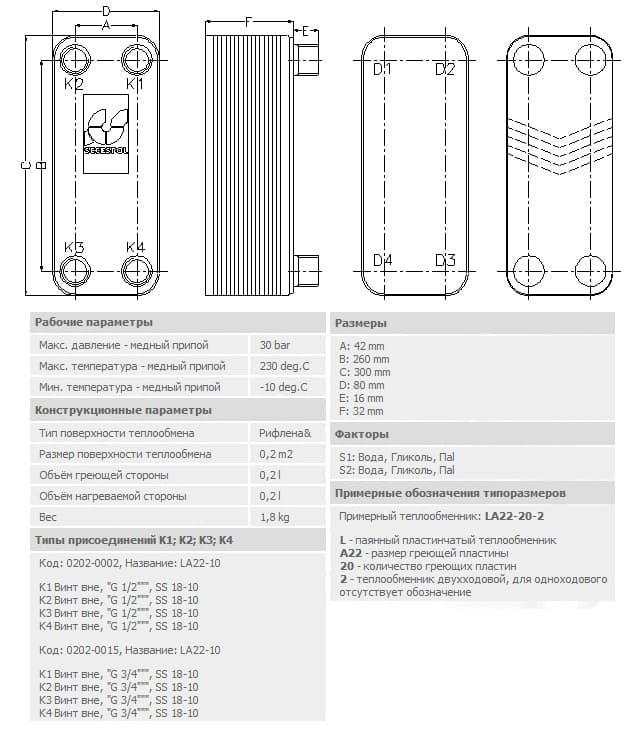 технические характеристики теплообменника secespol LA22-10-3/4 10-30.