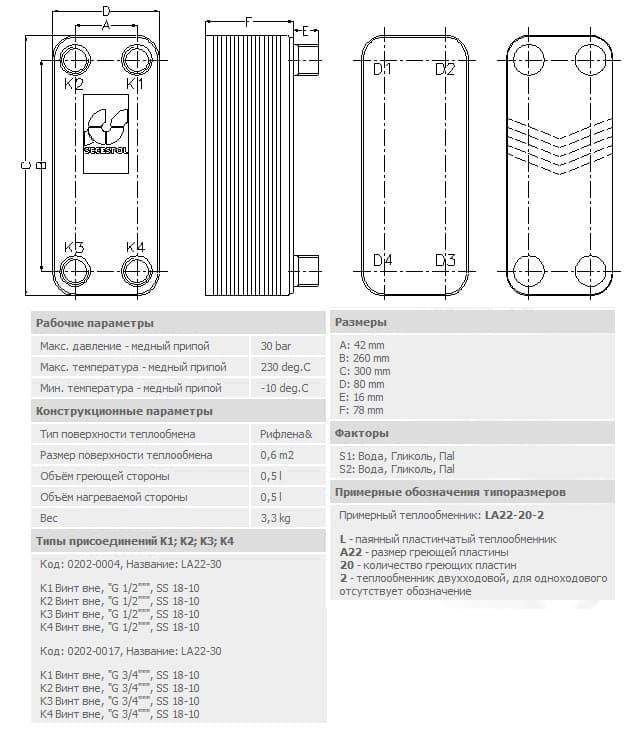 технические характеристики теплообменника secespol LA22-30-3/4 30-50