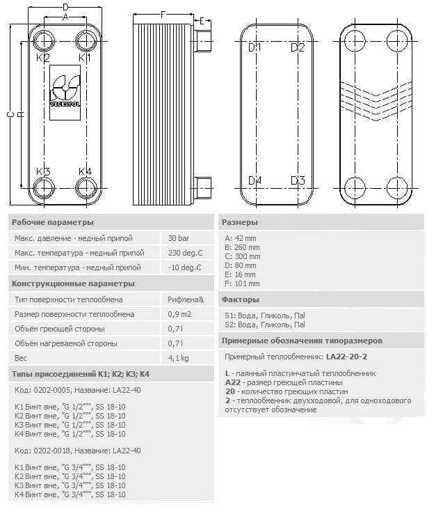 Технические характеристики теплообменника Secespol la22-40-3/4-40-60-kvt