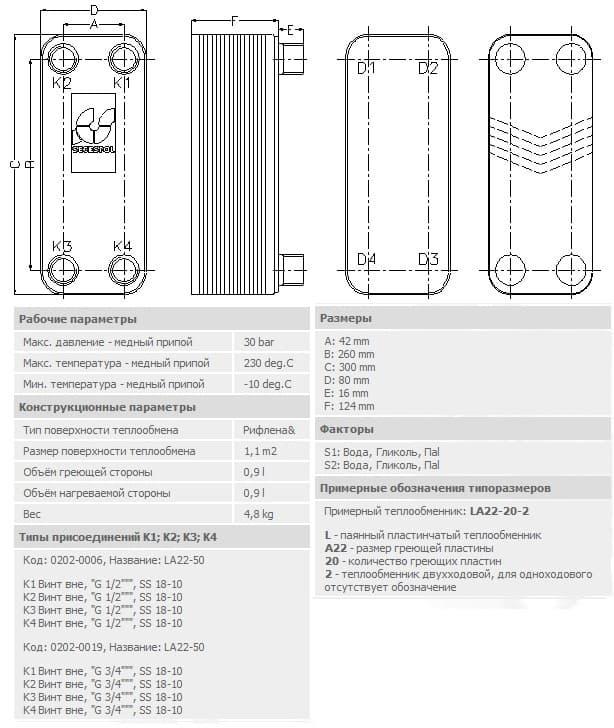 технические характеристики теплообменника secespol LA22-50-3/4 50-70.