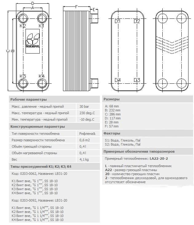Технические характеристики теплообменника Secespol -lb-31-20-1-25-50-kvt
