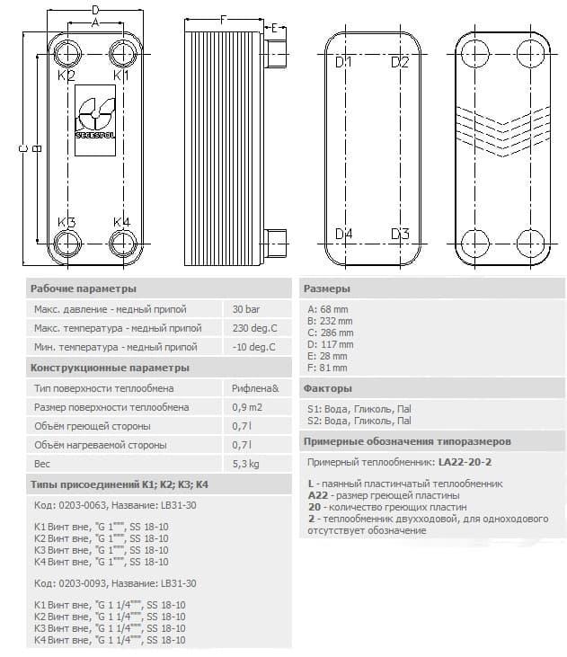 технические характеристики теплообменника secespol LB-31-30-1 35-70