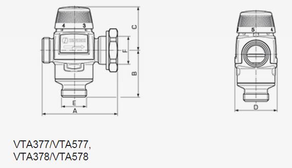 Размеры смесительного клапана ESBE VTA 377