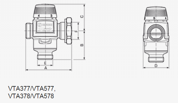 Размеры смесительного клапана ESBE VTA 577